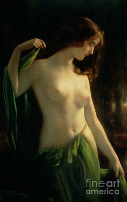 Unclothed Painting - Water Nymph by Otto Theodor Gustav Lingner