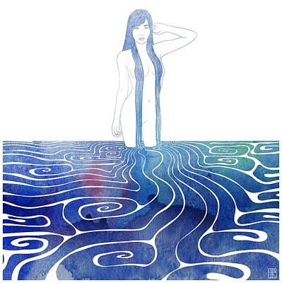Bathing Mixed Media - Water Nymph Xci by Stevyn Llewellyn