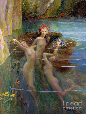 Naiad Painting - Water Nymphs by Gaston Bussiere