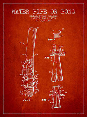 Water Pipe Or Bong Patent 1975 - Red Art Print by Aged Pixel