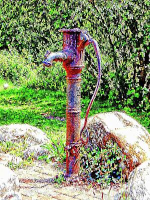 Digital Art - Water Pump Falmer by Dorothy Berry-Lound