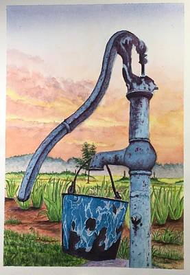 Painting - Flower Bed And Old Time Water Pump by Richard Benson