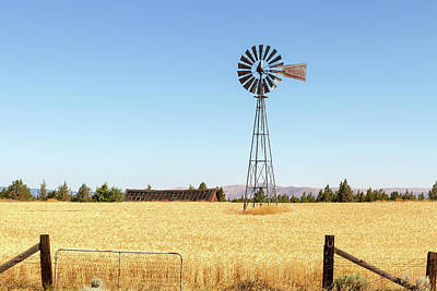 Summer Photograph - Water Pump Windmill At Wheat Farm In Rural Oregon by David Gn