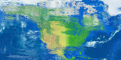 Digital Art - Water Reflection Map North America by Frans Blok