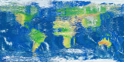 Digital Art - Water Reflection World Map by Frans Blok