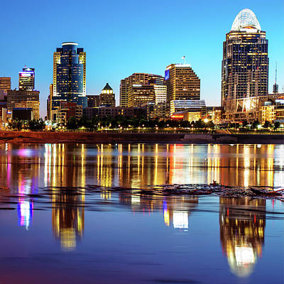 Photograph - Water Reflections Of The Cincinnati Skyline by Gregory Ballos