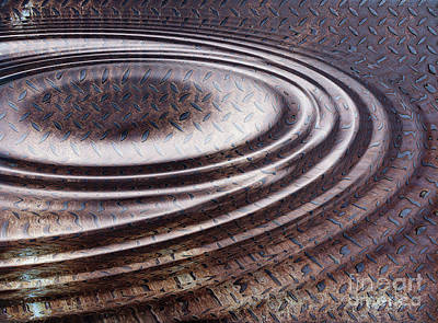 Digital Art - Water Ripple On Rusty Steel Plate  by Michal Boubin