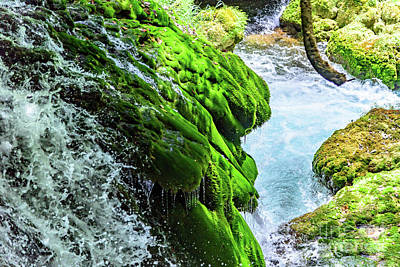 Photograph - Water Rushing Over Moss At Krka National Park Waterfalls, Croatia by Global Light Photography - Nicole Leffer