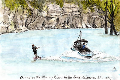 Drawing - Water Skiing by Anne Huth