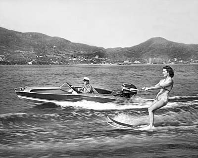 Water Skiing In Acapulco Art Print by Underwood Archives