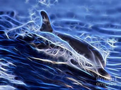 Dolphins Mixed Media - Water Skiing by Marvin Blaine