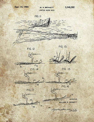 Drawing - Water Skis Patent by Dan Sproul