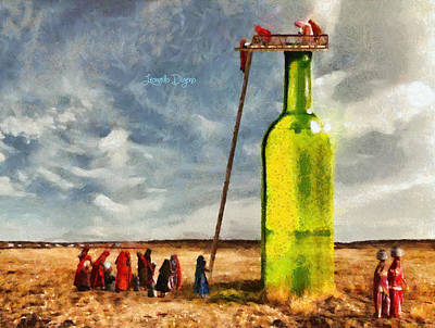 Glass Bottle Painting - Water Source - Camille Style by Leonardo Digenio
