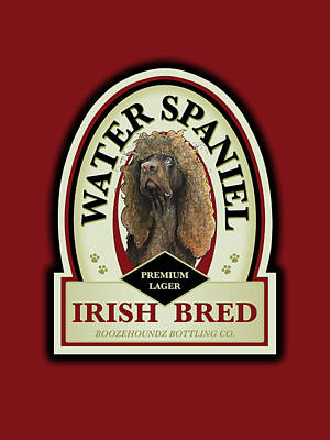 Food And Beverage Drawings - Water Spaniel Irish Bred Premium Lager by John LaFree