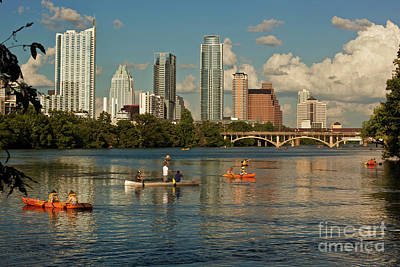 Frost Bank Building Photograph - Water Sports Are A Favorite Pastime On Town Lake In Austin, Texas by Herronstock Prints