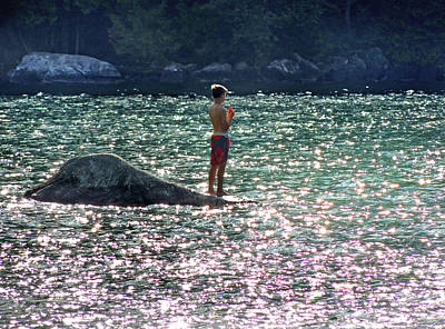 Photograph - Water Sun And Little Boy At Lake Willhouby by Nancy Griswold