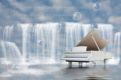 Digital Art - Water Synphony For Piano by Angel Jesus De la Fuente