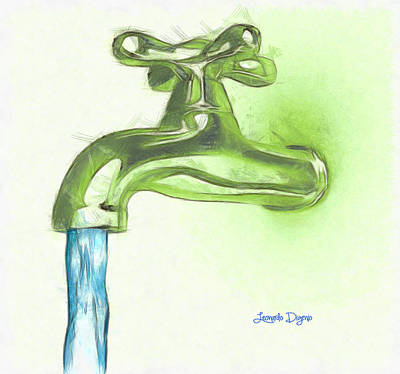 Gold Digital Art - Water Tap A - Da by Leonardo Digenio