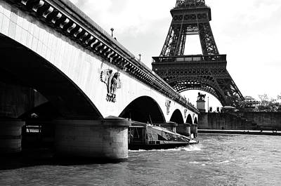 Photograph - Water Taxi Boat Under Pont D'lena Bridge With Eiffel Tower Paris France Black And White by Shawn O'Brien