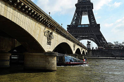 Digital Art - Water Taxi Boat Under Pont D'lena Bridge With Eiffel Tower Paris France Poster Edges Digital Art by Shawn O'Brien