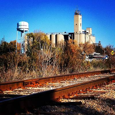 Photograph - Water Tower And Silos With Railroad by Chris Brown