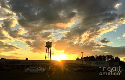 Photograph - Water Tower At Sunset by MaryLee Parker