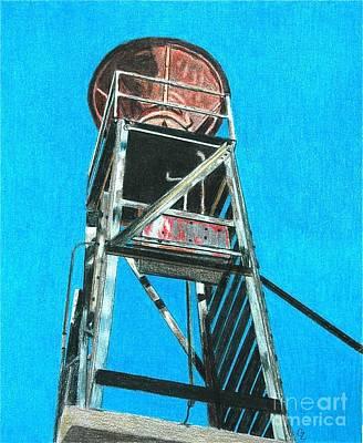 Colored Pencil Landscape Drawings Drawing - Water Tower by Glenda Zuckerman