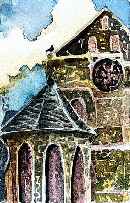 Rose Tower Painting - Water Tower Of Canterbury Cathedral by Mindy Newman