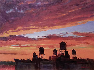 Painting - Water Towers At Sunset No. 4 by Peter Salwen