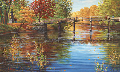 Concord Ma Painting - Water Under The Bridge, Old North Bridge, Concord, Ma by Elaine Farmer