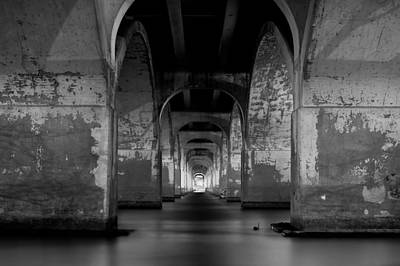 Lights In Tunnel Photograph - Water Under The Bridge - Tulsa Black And White by Gregory Ballos