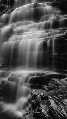 Photograph - Water Veil Black And White by Bill Wakeley