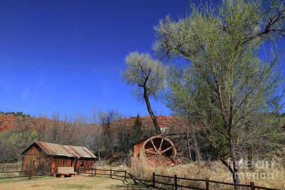 Photograph - Water Wheel And Old Barn by Teresa Zieba