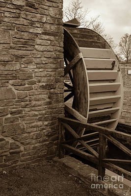 Photograph - Water Wheel At Edwards Mill Sepia by Jennifer White