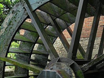 Water Wheel At Graue Mill, Oakbrook, Illinois Print by Gary Sibio