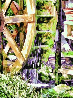 Gristmill Painting - Water Wheel Detail 2 by Lanjee Chee