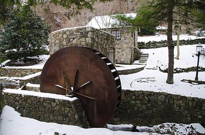 Water Wheel In Winter - Lower Merion Pa Art Print by Bill Cannon