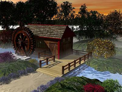Digital Art - Water Wheel by John Pangia