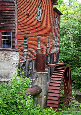 Dry Lake Mixed Media - Water Wheel New Hopes Mills New York 02 by Thomas Woolworth