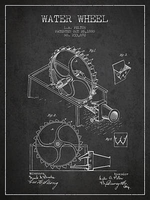 Water Wheel Patent From 1880 - Charcoal Art Print by Aged Pixel