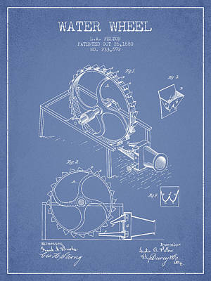 Electrical Digital Art - Water Wheel Patent From 1880 - Light Blue by Aged Pixel
