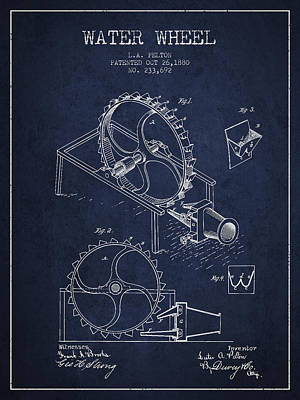 Electrical Digital Art - Water Wheel Patent From 1880 - Navy Blue by Aged Pixel