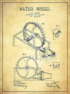 Electrical Digital Art - Water Wheel Patent From 1880 - Vintage by Aged Pixel