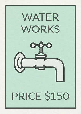 Monopoly Mixed Media - Water Works Vintage Monopoly Board Game Theme Card by Design Turnpike