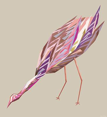 Abstract Digital Drawing - Waterbird D by Thecla Correya