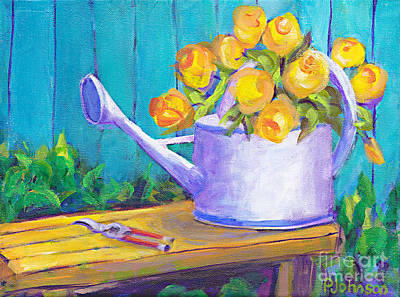 Painting - Watercan Bouquet By Peggy Johnson by Peggy Johnson