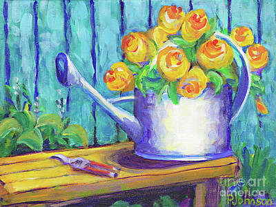 Painting - Watercan Bouquet Revisited By Peggy Johnson by Peggy Johnson