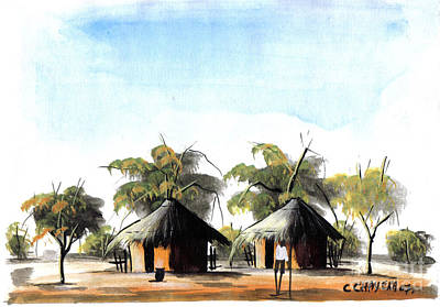 African Village Scene Painting - Watercolor 49 by Chrisfold Chayera