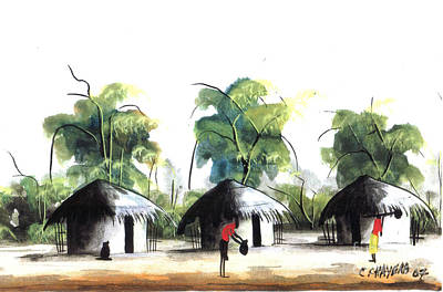 African Village Scene Painting - Watercolor 55 by Chrisfold Chayera
