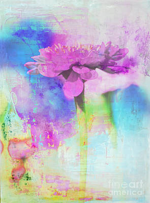 Artyzen Studios Mixed Media - Watercolor Abstract Flower In Purple And Blue by Anahi DeCanio - ArtyZen Studios